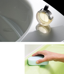 人造大理石バスタブの表面はとても滑らかなため、汚れがつきにくく、お掃除は水拭きするだけでその美しさを保つことができます。また、水返しなど細かい部分まで一体成形できるのも、人造大理石の強み。水が隙間に入りにくく、お掃除の手間を軽減します。お掃除が簡単なバスルームなら、いつもきれいに気持ちよく入っていただける、というヤマハの願いがこもった設計です。ヤマハシステムバス