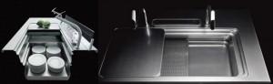 トーヨーキッチン 3Dシンク 収納力の高い足つきキッチンはデザイン性も高い