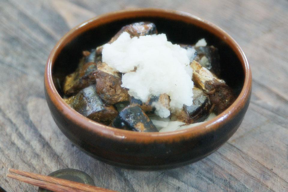 「さんま佃煮」と大根のサラダ