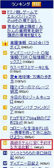livedoor blog 旅行で10位