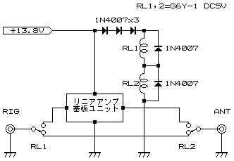 スルー付きプリアンプユニット回路図