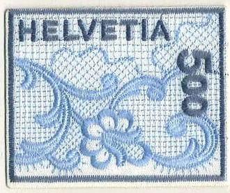 レースで出来たスイスの切手