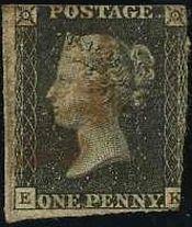 無目打(1840年)w.1 ブラックペニー、世界最初の切手