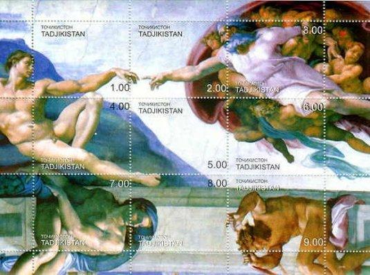 システィーナ礼拝堂の天井画・アダムの創造