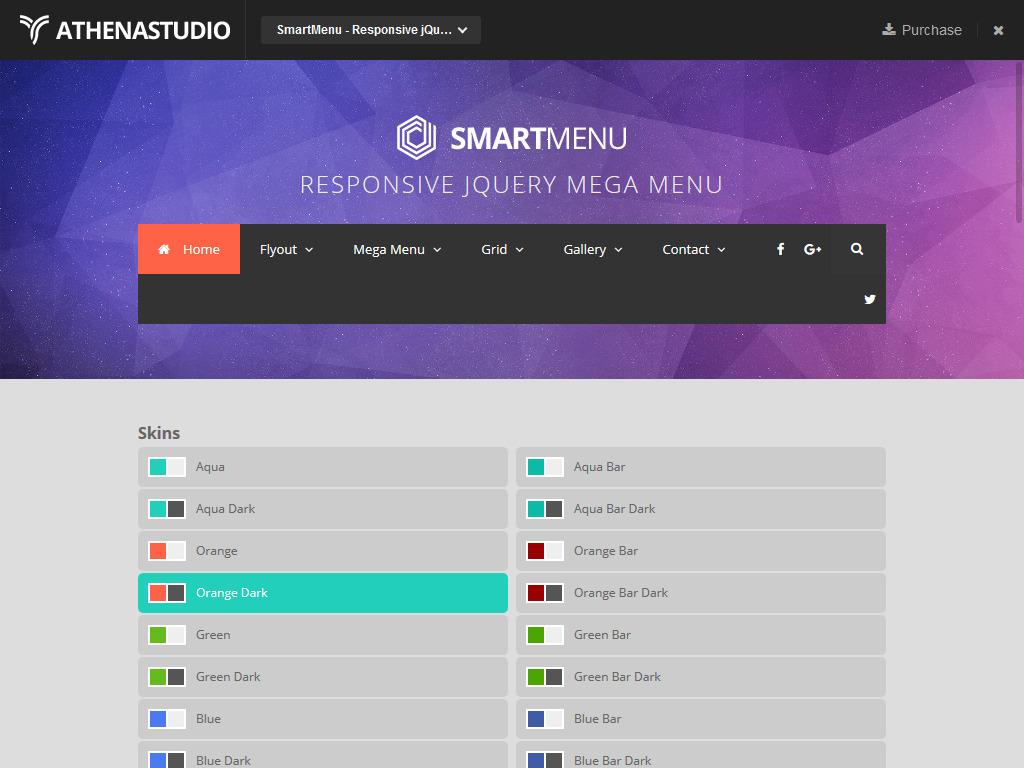 SmartMenu - Responsive jQuery Mega Menu  AthenaStudio