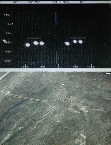 メキシコ軍の赤外線カメラがとらえたUFOとみられる発光体(上)とナスカの地上絵