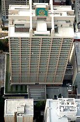 西村真悟衆院議員の長男が転落した衆院赤坂議員宿舎=東京都港区で2008年1月9日午前11時34分、本社ヘリから丸山博撮影