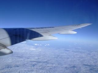 座席は翼の付け根近く