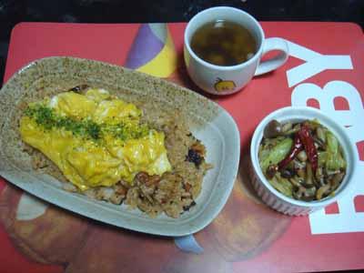 おうちごはん 鰻のひつまぶし風焼きめしふわ玉のせ+しめキャベ炒め+ミックス豆のスープ