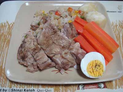 おうちごはん。 チキン乗せピラフと蒸し野菜