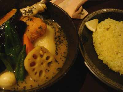 yellow チキン野菜カリー 辛さ1番(ポカラ) フィッシュフライトッピングとごはん