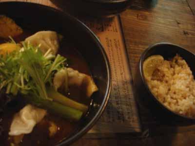 奥芝商店 十勝餃子 エビスープ きくらげトッピングと玄米ご飯
