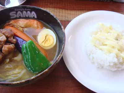 SAMA 大谷地店 あっさりスープ チキンタツタ エビ、チーズトッピングとごはん
