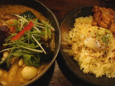 Rojiura Curry SAMURAI. 道産地鶏と野菜14種 マイルドスープとごはん 焦がしチーズ&温玉、侍ザンギトッピング