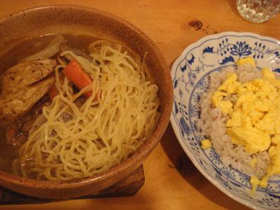 とら よくぱり 替え玉らうめん(煮込みで) 十穀米 きのこミックス天ぷら