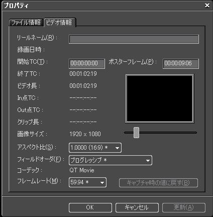 FHDビデオのプロパティ表示