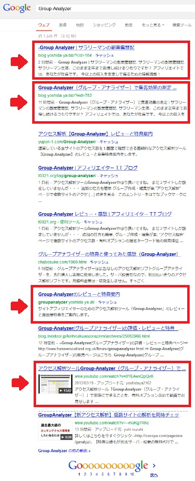 Group Analyzer検索結果