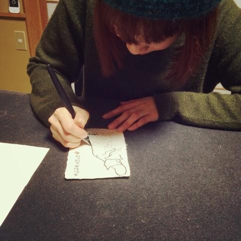 鳥獣戯画 絵手紙 ねこまつり