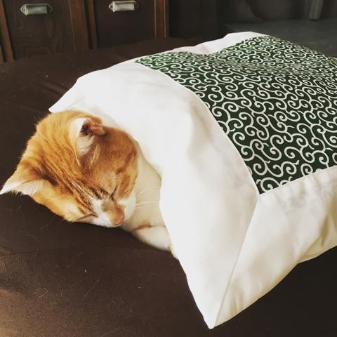 猫 布団 唐草