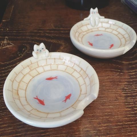 猫と金魚 豆皿