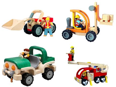 スマイリートイ 木の車のおもちゃ