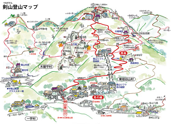 剣山登山マップ