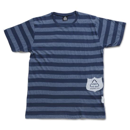 ボーダーエンブレムTシャツ メンズ/アオ フロント