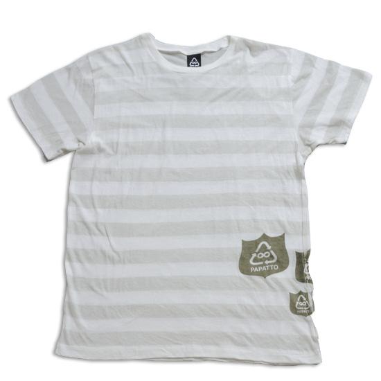 ボーダーエンブレムTシャツ メンズ/シロ