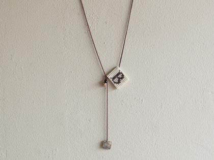 initial necklace (beads-B)