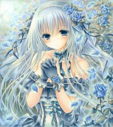 オリジナルイラスト。薔薇。バラ。青薔薇。姫。王女。絵。ファンタジー。森。女の子。魔法。ゴシック。blue rose。