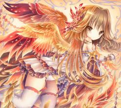 オリジナルイラスト。絵。ファンタジー。羽。翼。女の子。魔法。炎。少女。フェニックス。