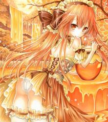 オリジナルイラスト。絵。ファンタジー。森。女の子。魔法。ハチミツ。はちみつ。蜂蜜。ツボ。滝。木。池。HONEY  TIME。