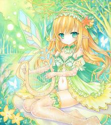 オリジナルイラスト。絵。ファンタジー。森。女の子。魔法。エルフ。蝶々。少女。ハープ。緑。黄緑。ハープエルフ。