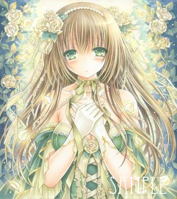 オリジナルイラスト。絵。女の子。ファンタジー。少女。魔法。 森。童話。姫。ドレス。クラシック。白薔薇。薔薇。バラ。white rose。