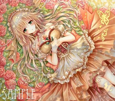 オリジナルイラスト。絵。女の子。ファンタジー。少女。魔法。 森。童話。姫。クラシック。眠り姫。蝶々。木漏れ日。