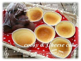 スフレチーズケーキとココアクッキー