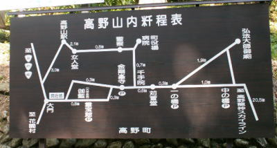 大門の近くの高野山の案内地図