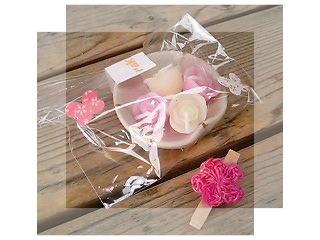 バラのキャンドルとお花のクリップ