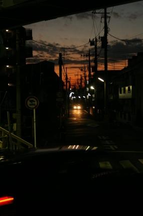 電線、電柱、夕焼け