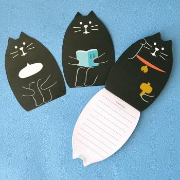 まったりノートブック ダイカットメモ 黒猫
