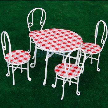 ミニチュア家具 赤白チェック柄テーブル&椅子4脚セット