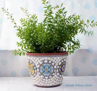 モザイク,モザイクの植木鉢,チュニジア雑貨,チュニジアのタイル
