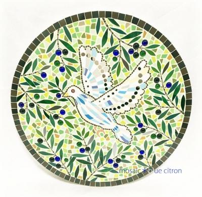 モザイク,モザイク展覧会,国際陶磁器フェスティバル美濃,モザイクアート,タイル,タイルアート,鳩とオリーブ,鳩のモザイク,オリーブのモザイク,オリーブ,鳩,ハト,