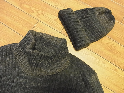 リッチモア パーセントグラデーション リブ編みタートルネック ワッチキャップ ニット帽