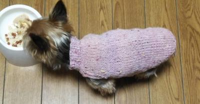 オリムパス メイクメイク ココット ピンク ツィード 小型犬 手編みセーター