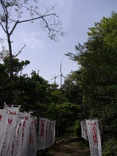 蔵王権現、幟と蔵王山の風車