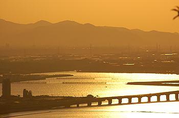 蔵王山から三河湾大橋、朝