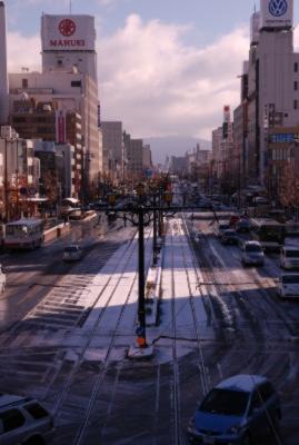 雪の朝 豊橋駅前