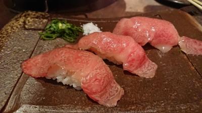 大井町の神戸びいどろの炙り肉寿司