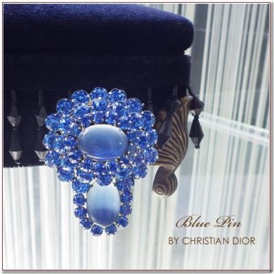 ブルーストーンのビンテージクリップブローチ Cristian Dior(クリスチャンディオール)